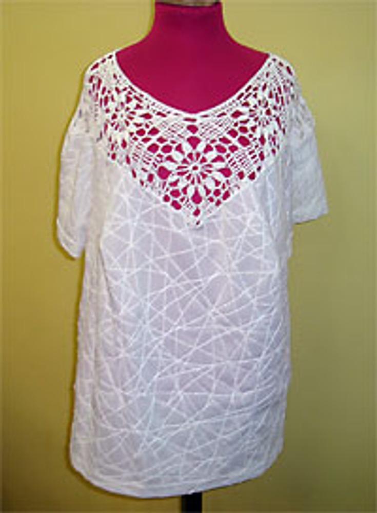 Фото 2. Трикотажная блузка с вязаной кокеткой.