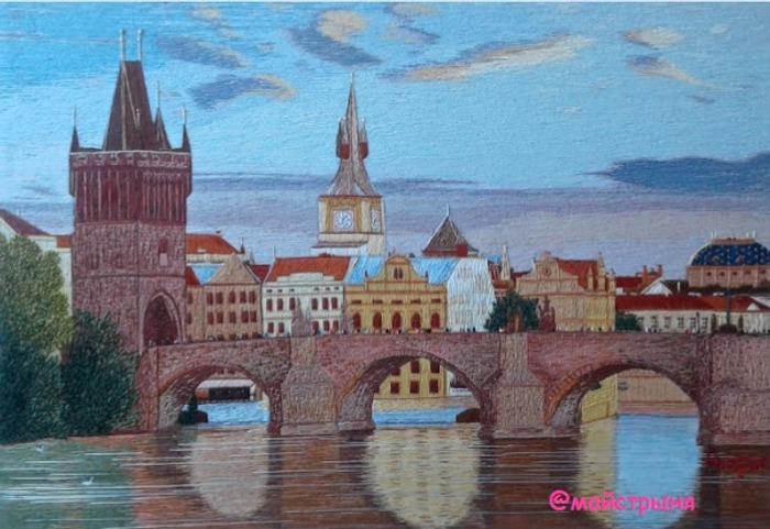 """Фото. """"Карлов мост в Праге"""", с элементами  объемной вышивки.  Автор работы - майстрыня"""