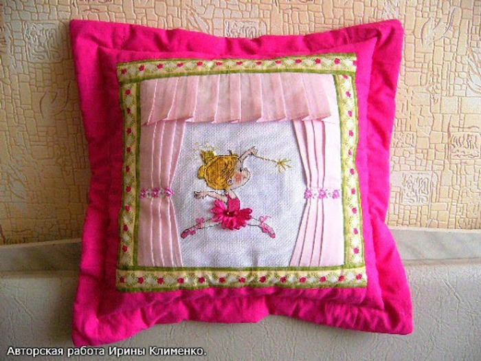 Фото. Вышивка превращается  в  наволочку на подушку для девочки. Размер  38см*38см.