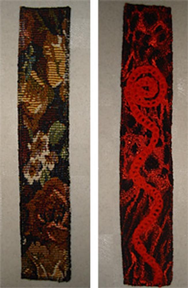 Фото 2. Закладки из гобелена и жаккарда с декором из вязаных воздушных петель.
