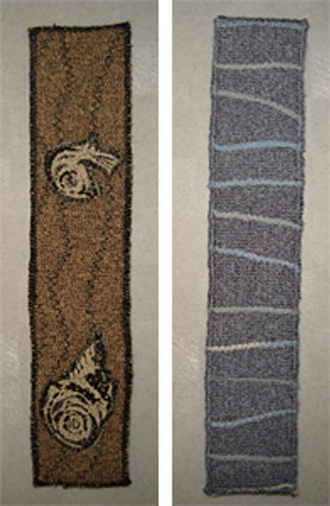 Фото 4. Закладки из трикотажной ткани с декором аппликацией или пряжей.