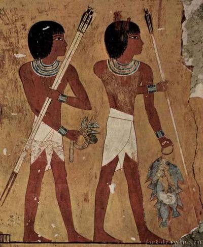 """Фото. Копьеносцы. 1448-1422 до н.э. Гробница Кенамона, """"военачальника"""" фараона. Дуксор, Египет"""