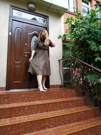 Фото. Платье рубашка, лён 100%, машинное вязание.  Автор работы - shelllla