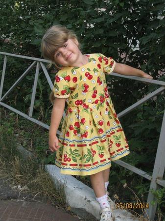 Фото. Платье для дочки из американского хлопка. Выкройка из старой  Бурды.