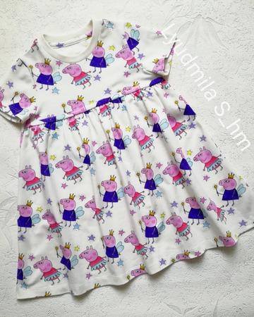 Фото. Платье из кулирки с лайкрой для внучки.  Автор работы - Lyudmila_So