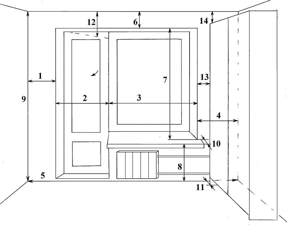 Рис. 2. Замеры для окна с балконной дверью.