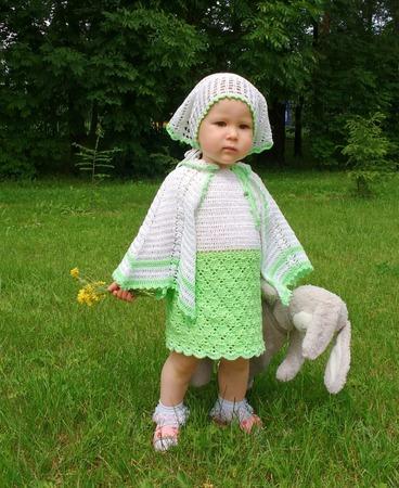 Фото. Комплект для девочки - косынка, сарафан и накидка.  Автор работы - Beautifullove