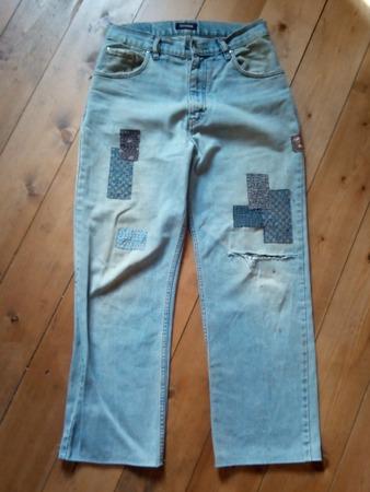 """Фото. Первый опыт в технике """"боро""""  - джинсы мужа с дырками и пятнами. Автор работы - Snoopy"""