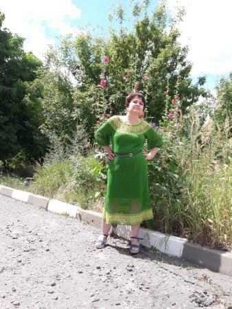 Фото. Платье из хлопка. 280 м/50 гр. Спицы № 3. Вес 500 гр.  Автор работы - Nikita 13