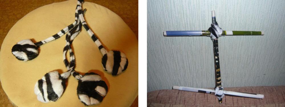 Фото 4. Туловище с лапками и палочки для веревочек.