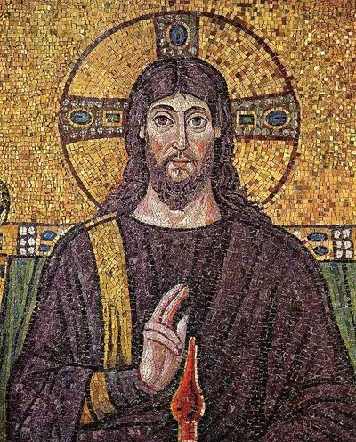 Фото. Византийская мозаика. Христос Пантократор. Мозаика из базилики Сант-Аполлинаре-Нуово, Равенна.