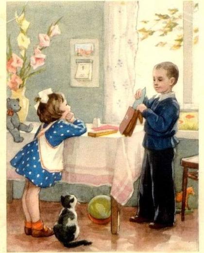"""Фото. Рыбченкова Л.Б. """"В школу"""" (открытка) 1954 г."""