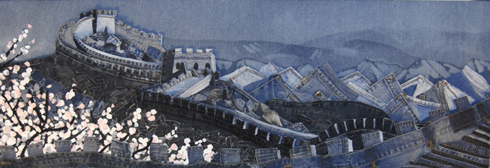 Mulan's Great Wall, Denim on Denim, 1200x400, 2010