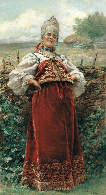 """Фото. Маковский К.Е. """"У околицы"""". 1893 г."""