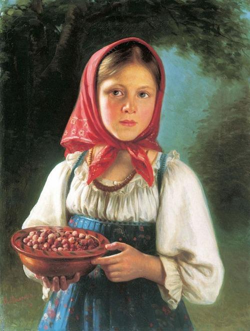 """Фото. Тимофеев В. Т.  (1835-1914) """"Девочка с ягодами"""", 1879 г."""