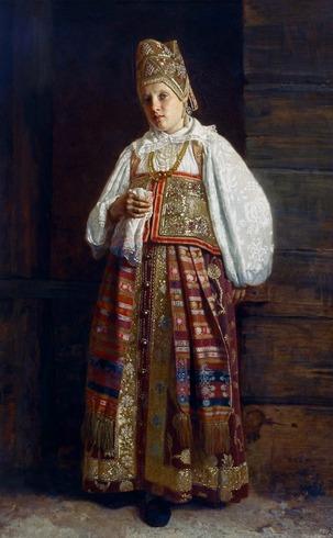"""Фото. Седов Г. С. """"Курская мещанка в старинном костюме"""", 1871 г."""