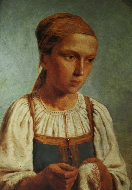"""Фото. Венецианов А. Г. """"Крестьянская девушка за вышиванием"""". 1843 г."""
