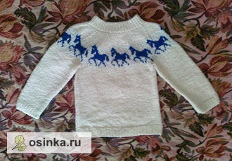 Фото. Теплый свитерок для любителя лошадок. Автор работы - Помидоровна