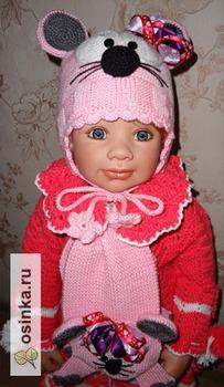 Фото. Нарядные вязаные аксессуары для девочек: шапочки, шарфики, береты, пальто. Автор работы - zabavyhka