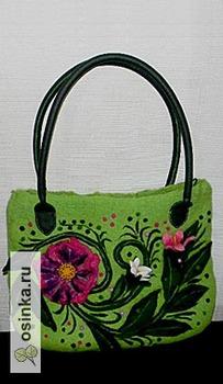 Фото. Дизайнерская валяная сумочка порадует яркими красками. Автор работы - ausever