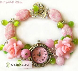 """Фото. Часы """"Розарий"""" -  чешское стекло, кошачий глаз, полимерная глина, металлофурнитура, кварцевые часы. Автор grini13 ."""