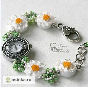 """Фото. Часы """"Ромашковые"""" с браслетом из авторских бусин-лэмпворк. Автор glassmagic ."""