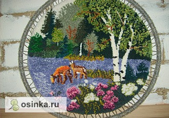 Фото. Яркая сочная пряжа и такой летний сюжет - картина в ковровой технике от Marysia is Kk .