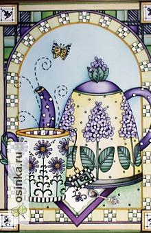 """Фото. А Exotic воплотила свое весеннее настроение в картине """"Чаепитие.  Сиреневый чай"""" в витражной технике."""