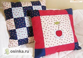 """Фото. Уютные подушки """"Вишенки"""" также выполнены в лоскутной технике. Автор - Пеппи Длинныйчулок ."""