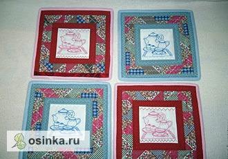 Фото. Лоскутные салфетки с вышивкой. Автор - лоскутные штучки .
