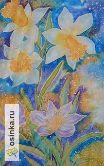 """Фото. Шарф """"Первоцветы"""": нат. шелк-эксельсиор, батик. Автор - Кирмаша ."""