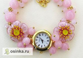 """Фото. Часы """"Японская весна"""": авторские бусины лэмпворк (lampwork), розовый кварц, фурнитура под золото, кварцевые часы. Автор - grini13"""