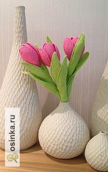 """Фото. """"Тюльпаны""""  в технике тунисского вязания. Автор - olgaako ."""