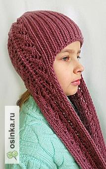 Фото. Шапка-шлем с длинными ушами-завязками с ажурной вставкой. Автор - Дреглянка .
