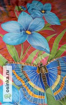 """Фото. Платок """"Синее лето"""", холодный батик, натуральный шелк - туаль. Автор - Toyfox ."""