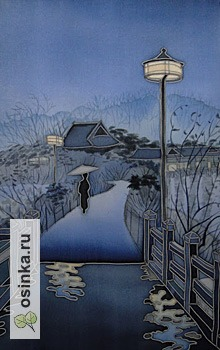 "Фото. ""На мосту"". Картина в технике холодного батика на атласе.  Автор - Gi-Gi ."