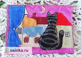 """Фото. Оригинальная обложка """"Окно в другой мир"""" выполнена из натуральной кожи в технике аппликация. Автор - Ya-nochka ."""