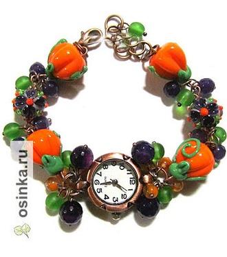 """Фото. Часы """"Хэллоуин"""" - от grini13 : авторские бусины лэмпворк, аметист, чешское стекло, агат, кварцевые часы, медная фурнитура. Роскошный подарок!"""