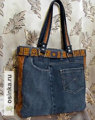Фото. Кто сказал, что сумки можно шить только из старых джинсов? К примеру, feerka смастерила свою из джинсовой юбки.