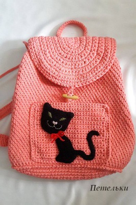 """Фото. Вязаный рюкзак из хлопка """"Без кота и жизнь не та..."""". Внутри - двойной подклад из хлопка, есть внутренний карман на замке. Автор работы - NatkaD"""