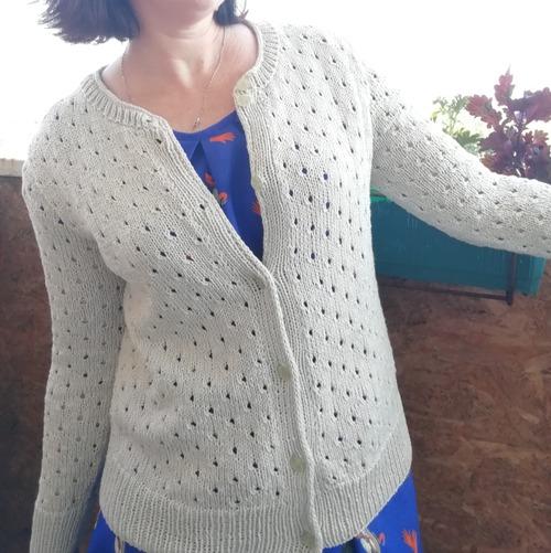 Фото. Жакет из Рован. Пряжа Nako Caliko с люрексом. Расход 440гр, спицы 4 и 3,5.