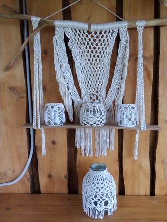 Фото. Плетеный декор для беседки: полка. Автор работы - Gamma123