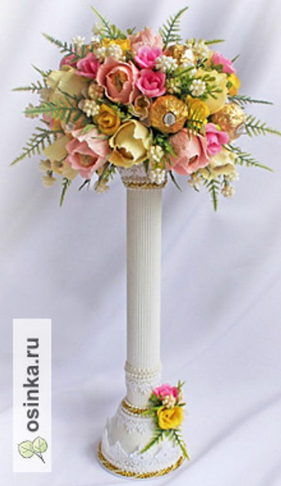 """Фото. """"Колонна в цвету"""" (композиция в самодельной вазе в виде колонны)"""