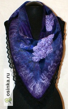 """Фото. Бактус """"Лавандовые мечты"""" выполнен в технике нуновойлок из натуральных материалов: шерсти и шелка. Автор - EvgeniyaiVe ."""