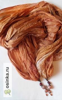 """Фото. Палантин """"Арабские ночи"""": натуральный шелк, понже, натуральные сердолики и медная фурнитура. Идеально для романтичный натур! Автор - NNad ."""