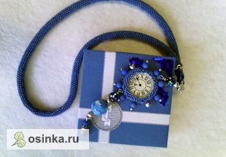 """Фото. Лариат """"Тик - так"""": это чешский бисер, бусины Lampwork, бусины Swarovski, кабошон-линза """"часы"""".  Автор - mirzoyan ."""