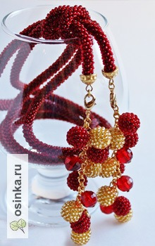"""Фото. Лариат """"Ягодный морс"""" украшен стеклянными гранеными бусинами, а также бусинами ручного плетения. Автор - yuliya815 ."""