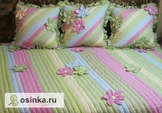 Фото. Лоскутный комплект для спальни - покрывало и подушки. Автор - Neskychajushie rychki .