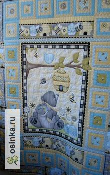 """Фото. Лоскутное детское одеяльце """"Мишка сластена"""" - под таким  будут сниться самые сладкие сны. Автор - Zalina Style ."""
