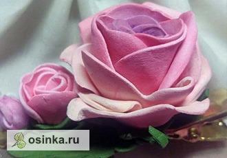 """Фото. Заколка """"Розы"""" -  выполнена из нежного фоамирана. Автор - ElenaLedum ."""